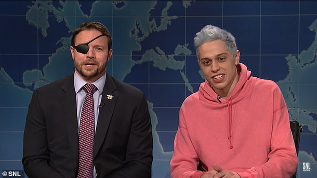 Comedian: Pete is best known for his role on SNL; here he is seen with Lt. Com. Dan Crenshaw