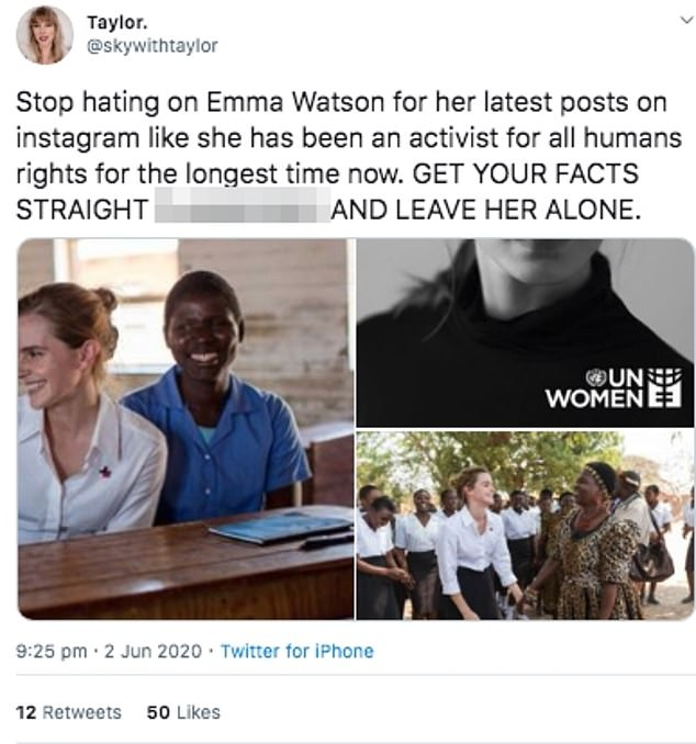 Support: However, others have defended the Harry Potter actress, claiming that she has been `` the longest-standing human rights activist now ''