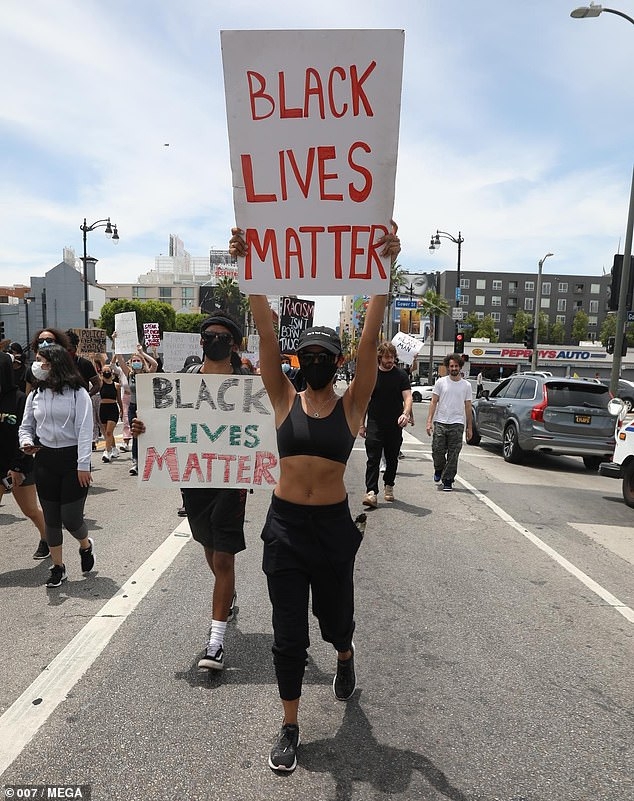 Dedicated: Tinashe took to the streets of Hollywood on Tuesday to join the day's protest over the senseless killing of George Floyd, who died at the hands of police on May 25
