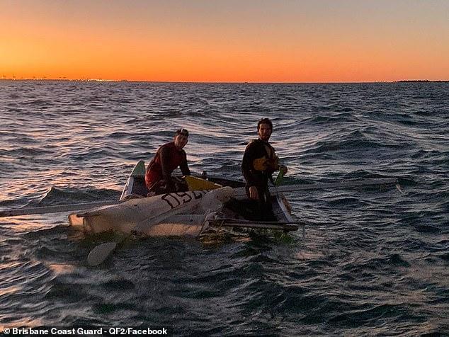 Samuel Martel and Guy Sherro's two man catamaran capsized six kilometres off the Brisbane coast in rough waters on Tuesday evening