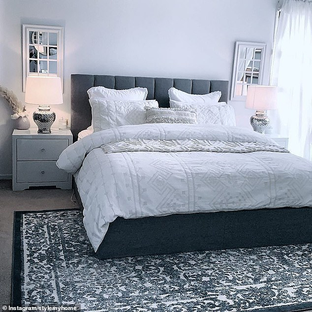 The main bedroom matches the colours find in the living room, and the same mosaic design