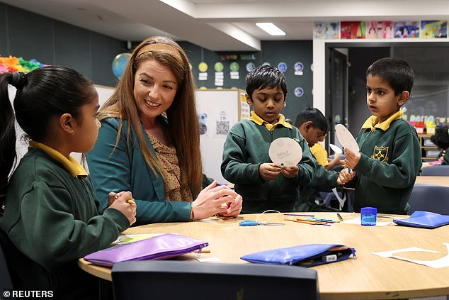 Advertised positions in the education and training area rose by 125.1 per cent. NSW saw an even bigger increase of 169 per cent, in a state that has reopened its classrooms. Pictured is a teacher with pupils at Homebush West Public School in Sydney's west on May 25, 2020
