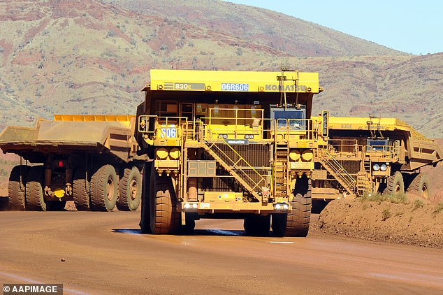 A reduction in export volumes saw a 1.3 per cent fall in the number of mining, resources and energy job advertisements in May. Pictured is a Rio Tinto haulage truck in Western Australia's Pilbara region