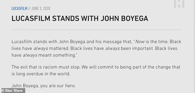 Together: LucasFilm shared a link to a video of John's speech on the Star Wars website with a caption that started: `` Lucasfilm stands with John Boyega and his message ... ''