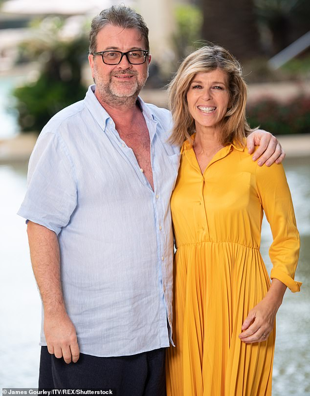 Health update: The presenter, 53, cried as she revealed Derek is now free from coronavirus but is continuing to fight against the damage inflicted on his body by COVID-19 (pictured in 2019)