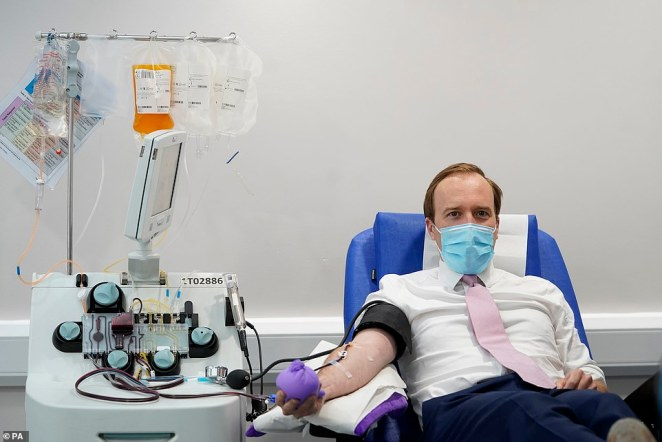 Mr Hancock also revealed he had donated blood plasma to an antibody trial in London today (pictured)