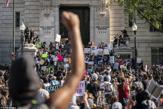 Washington has seen daily protests in the past week - largely peaceful. Above, thousands of people gathered at Freedom Plaza near 14th Street and Pennsylvania Avenue NW