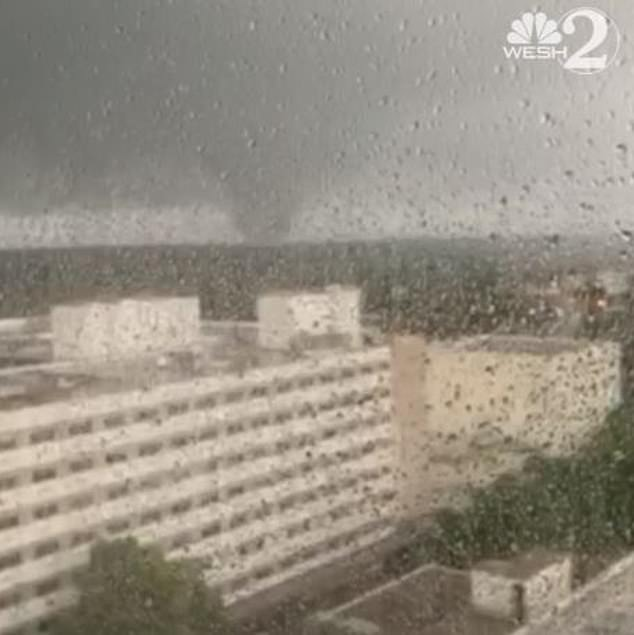 In footage from Orlando Regional Medical Center the tornado could be seen in the distance