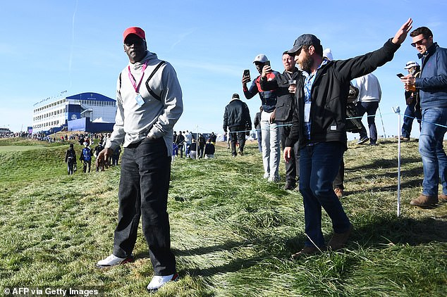 As their friendship collapsed in 2009, the pair remain friendly - Jordan pictured here at the 2018 Ryder Cup after Woods