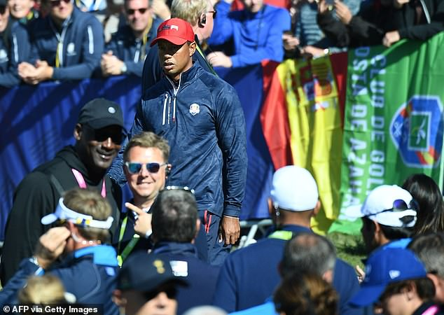 Jordan was at the National Golf to support Woods while the United States was convincingly beaten by Europe