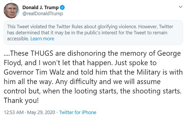 Some Facebook employees have publicly objected to Zuckerberg's refusal to take down or label misleading or incendiary posts by Trump and other politicians. Zuckerberg did not flag Trump's post that stated 'when the looting starts, the shooting starts' in response to unrest in Minneapolis over the videotaped killing of George Floyd.Twitter had both flagged and demoted a Trump tweet using the same language