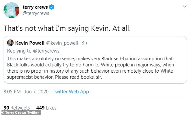 Activist: Activist Kevin Powell also responded to Crews, stating: