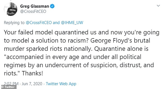 On Sunday, Glassman continued with: `` Your failed model put us in quarantine and now you are going to offer a solution to racism? The brutal murder of George Floyd sparked nationwide riots ... ''