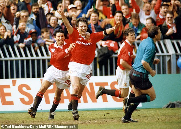Giggs and Robson celebrate in a clash with Wimbledon on the last day of the season in 1993