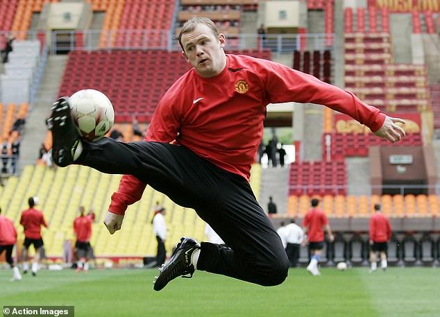 Wayne Rooney in action during the same training session at Luzhniki Stadium