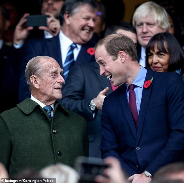 The Duke and Duchess of Cambridge shared this photo of Prince William smiling with his grandfather the Duke of Edinburgh in a photo to mark his 99th birthday. The photo was taken at the Rugby World Cup Final at Twickenham in October 2015