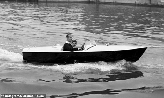 Clarence House also shared this sweet childhood photo of Prince Philip taking Prince Charles on a motorboat ride at the Cowes Regatta, on the Isle of Wight, in 1957