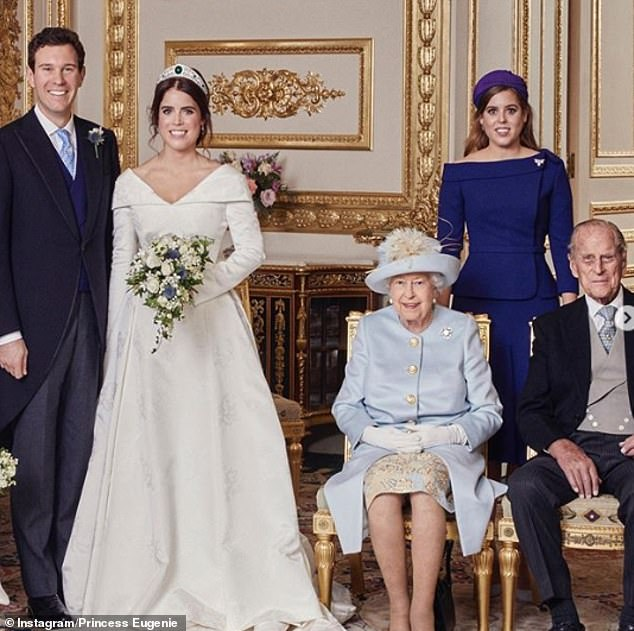 Princess Eugenie shared this photo with the caption: 'A very Happy 99th Birthday to HRH The Duke of Edinburgh. Grandpa, we wish you a special day.. and may all grandparents celebrating birthdays in lockdown have a wonderful time' The photo shows Princess Eugenie and husband Jack Brooksbank (left) at their wedding with Princess Beatrice, the Queen and Prince Philip