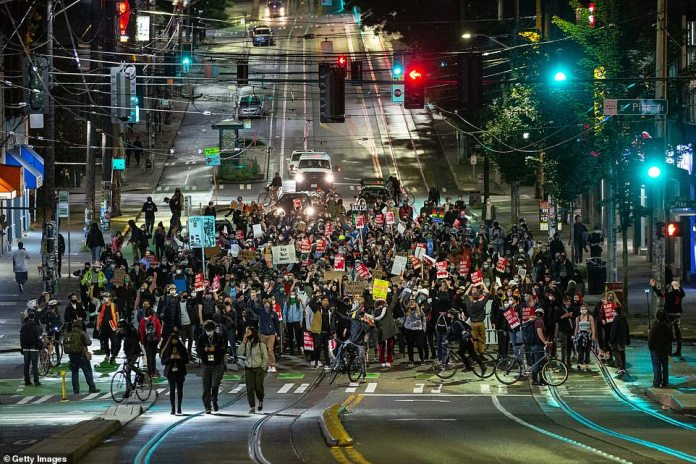 Protesters marched through the streets of Seattle to the