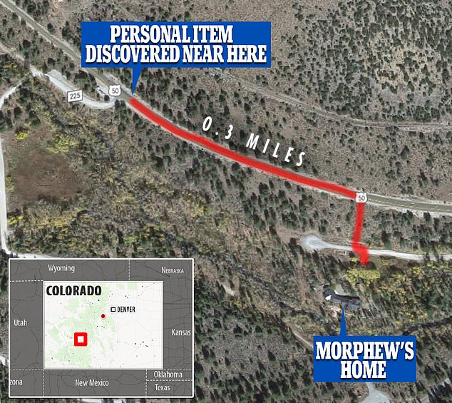 An area close to Morphew's house was searched after it was believed a personal item was found but the search was closed off on May 15 when it led to no fresh information