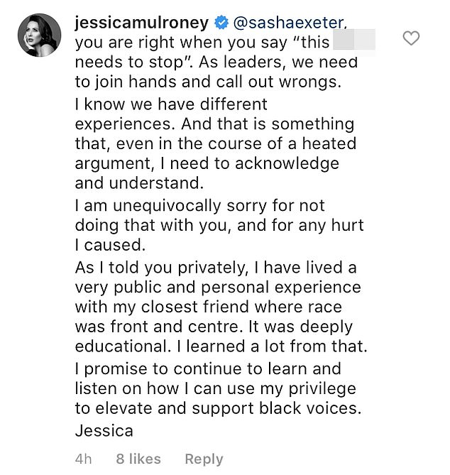 In a comment on the post, Jessica said she was 'unequivocally sorry' for what had happened and wrote that she had 'lived a very public experience with my closest friend where race was front and centre'