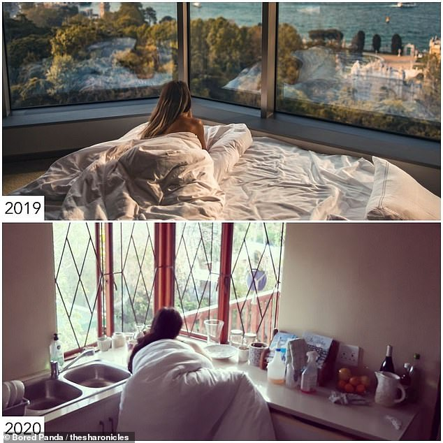 Sharon used her duvet and perched on her kitchen's windowsill in order to recreate another influencer's glamourous hotel room snap