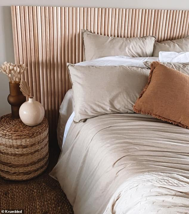 An Australian wellness blogger has created a DIY headboard out of timber she purchased at Bunnings, sharing the exact process with fans of the coastal piece of furniture