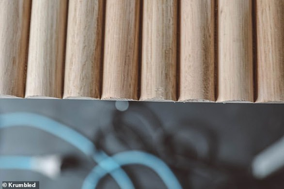 She opted for a full dowel finish, which looks cut off at the end of the half cylinders, because she preferred the look of it