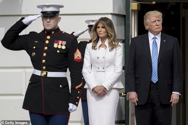 Melania Trump, in one of her first appearances as first lady, on February 15, 2017; she and President Trump wait at White House to greetIsraeli Prime Minister Benjamin Netanyahu and his wife Sara Netanyah