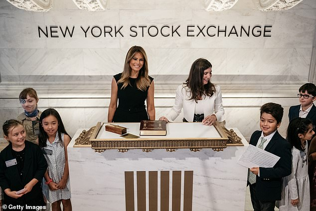 Melania Trump also traveled back and forth from New York, Washington and Florida in the first part of 2017; above she's seen at the New York Stock Exchange on September 23, 2019, to ring the opening bell