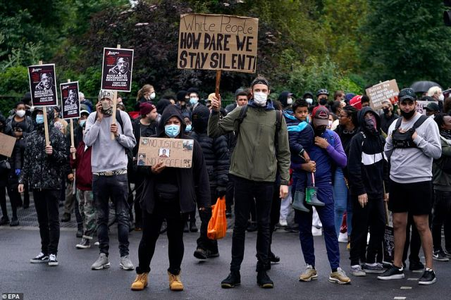 Protesters take part in a Black Lives Matter march in London. Protesters gathered to express their feelings in regard to the death of 46-year old George Floyd while in police custody