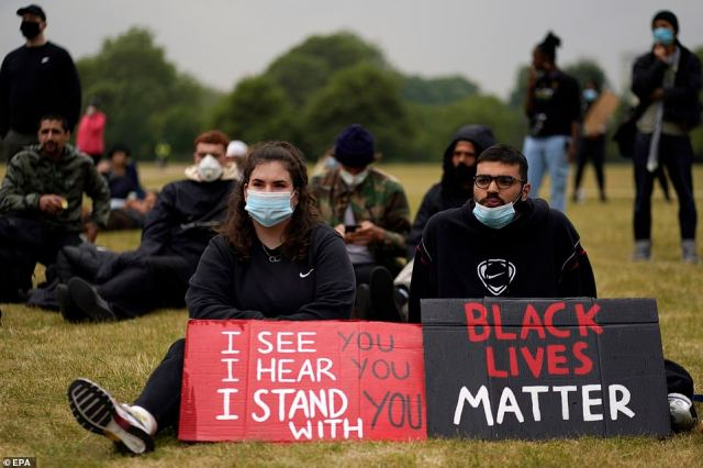 Protesters take part in a Black Lives Matter march. Protesters gathered to express their feelings in regard to the death of 46-year old George Floyd while in police custody