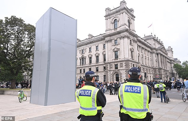 The statue of wartime leader Churchill was boarded up yesterday ahead of further expected demonstrations on Saturday after it was sprayed with graffiti during Black Lives Matter protests earlier this week