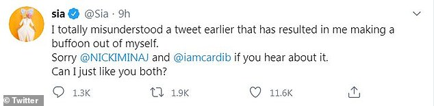 No response: Neither Minaj nor Cardi commented or responded to his apology or the first set of tweets