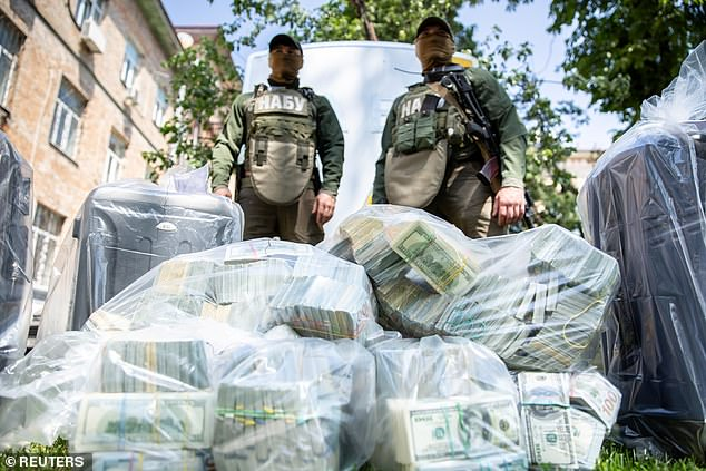 Artem Sytnyk, head of Ukraine's national anti-corruption bureau (NABU), said three people had been detained, including one current and former tax official, over the bribe offer. The seizure is the largest in Ukraine's history