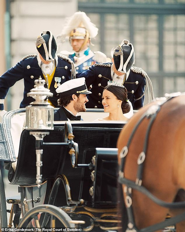 Meanwhile, Princess Sofia offered royal fans a behind-the-scenes glimpse of her wedding day to Prince Carl Philip (pictured together)