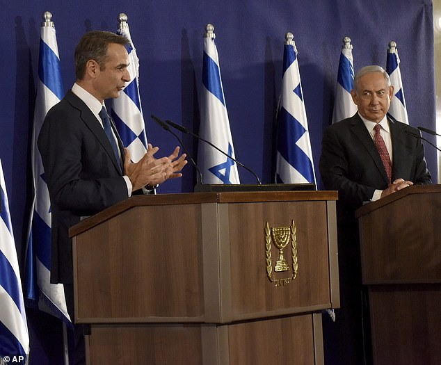 Pictured: Israeli Prime Minister Benjamin Netanyahu, right, and Greek Prime Minister Kyriakos Mitsotakis give joint statements in Jerusalem, Tuesday, June 16, 2020. Both countries reportedly share concerns about Turkey's intentions in the region