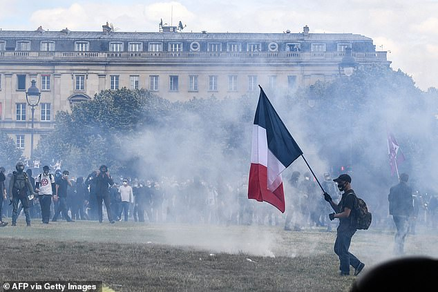 By 4pm there had been 16 arrests, and 'disturbances were ongoing,' said a spokesman for the Paris police prefecture