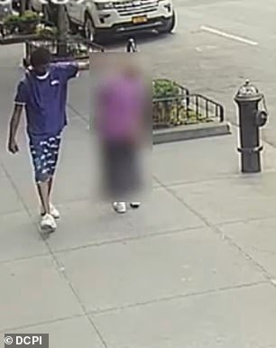 Video from the Gramercy Park neighborhood in Manhattan shows the man push her forehead