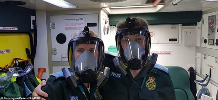 Emergency service workers are celebrated in this image called Personalized PPE, taken from the back of an ambulance