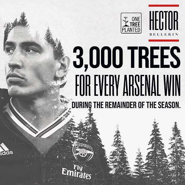 Last month Bellerin announced that he has partnered withglobal charity One Tree Planted