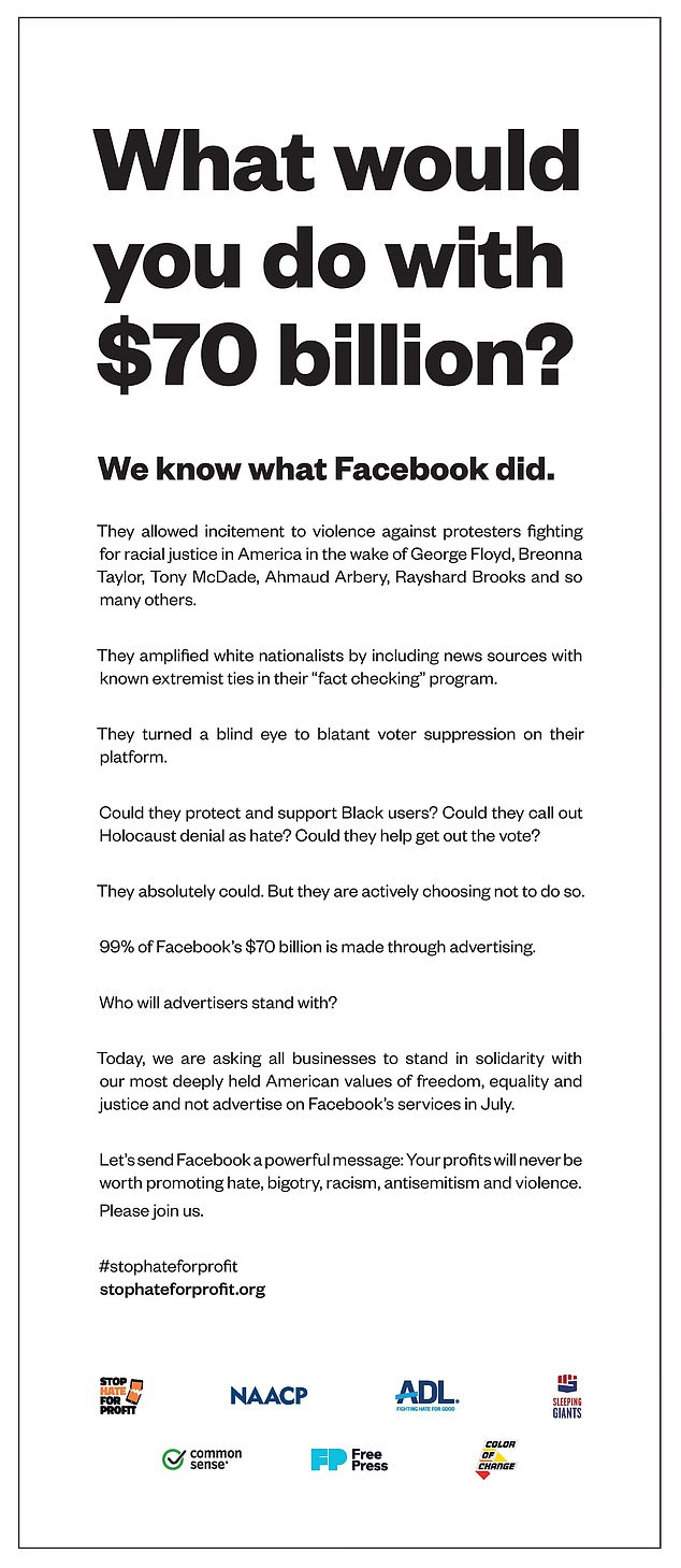 The groups took out a full page ad (pictured) in the Los Angeles Times that's titled: 'What would you do with $70billion?'