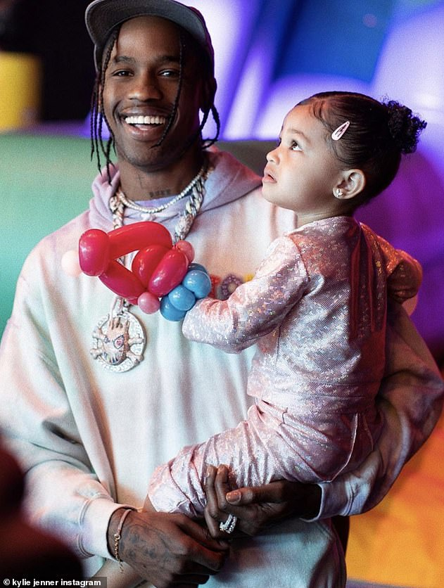 Houston rapper: Travis, shown with Stormi in an April Instagram post, dated Kylie from April 2017 to September 2019
