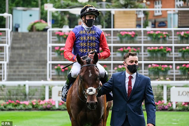 It comes after the Queen is said to have been 'delighted' to have a winner on the second day of Royal Ascot, with one of her horses, Tactical (above), which won the Windsor Castle Stakes on Wednesday .