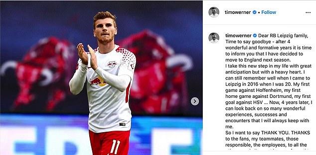 L'homme de 24 ans a rendu hommage aux supporters de Leipzig dans un message d'adieu sur son Instagram