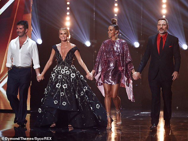 Cheeky: One thing that does not change on BGT's Amanda eye-catching sets, as she has admitted that she flashes her breasts on purpose and pretends to be
