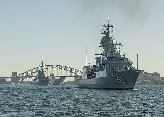 Australia has launched six warships into the Indo-Pacific for training operations ahead of huge show of force in the region with the US Navy. Pictured: HMA Ships Stuart (foreground), Hobart and Canberra (background) depart Fleet Base East in Sydney