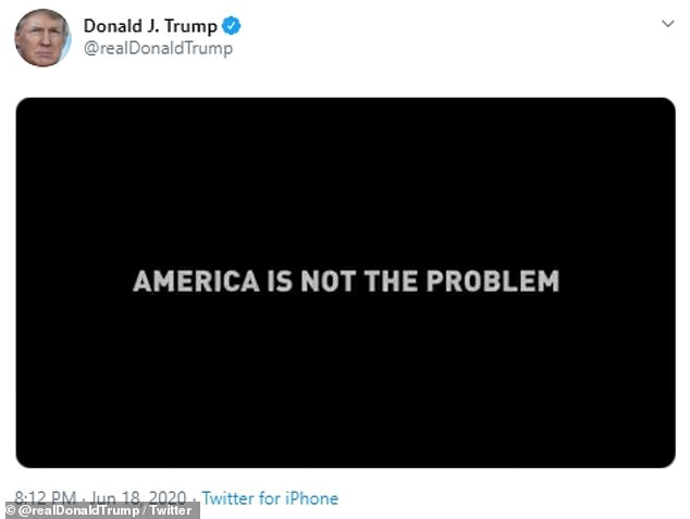 The video ends with a blacked out screen that shows the message: 'America is not the problem'