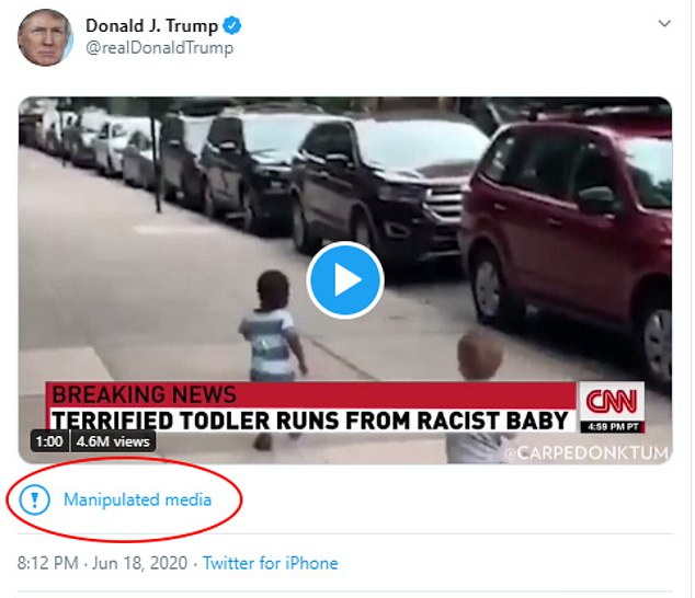 President Trump on Thursday shared a doctored video with a CNN chyron that reads: 'Terrified toddler runs from racist baby'. Trump's tweet prompted Twitter to add a disclaimer warning users that it was 'manipulated media.' The disclaimer links to a web page outlining Twitter policies as they relate to selectively edited clips