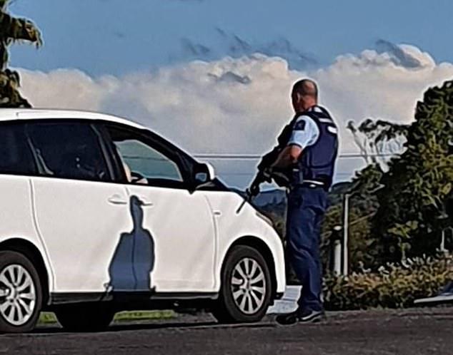 Un officier de police armé est vu tenant une arme à feu sur les lieux vendredi matin (photo) dans l'ouest d'Auckland